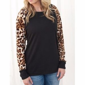 Tops - LAST ONE! Black and Leopard Top
